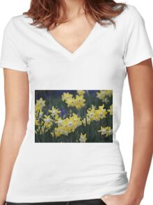 Happy jonquils Women's Fitted V-Neck T-Shirt