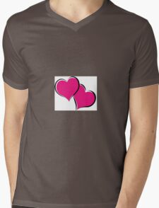 overlapping red hearts Mens V-Neck T-Shirt