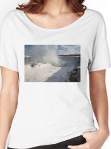 Niagara Falls Ice Buildup Panorama - Canadian Horseshoe Falls, Ontario, Canada Women's Relaxed Fit T-Shirt