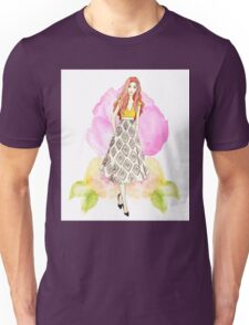 Drawing, watercolour, young girl, flowers, spring Unisex T-Shirt