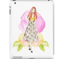 Drawing, watercolour, young girl, flowers, spring iPad Case/Skin