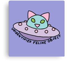 UFO alien cat kitten space 90s pastel neon print Canvas Print
