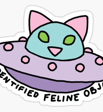 UFO alien cat kitten space 90s pastel neon print Sticker