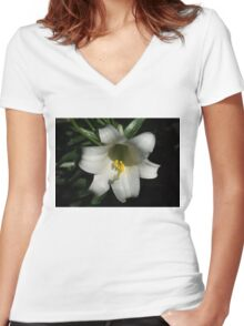 Emerging from the Darkness - Pure White Easter Lily Women's Fitted V-Neck T-Shirt