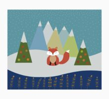Fox Illustration - Christmas Tree One Piece - Short Sleeve