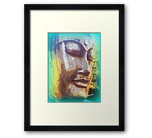 meditating buddha face Framed Print