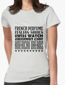 American Dreams - Mixed Typography - Black Womens Fitted T-Shirt