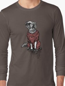 """""""Sassy"""" (Small Dog in her Red Sweater) Long Sleeve T-Shirt"""