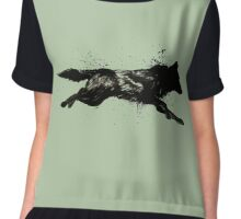 Black Wolf Running Chiffon Top