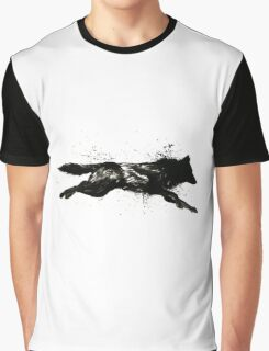 Black Wolf Running Graphic T-Shirt