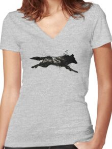 Black Wolf Running Women's Fitted V-Neck T-Shirt