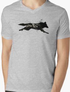 Black Wolf Running Mens V-Neck T-Shirt