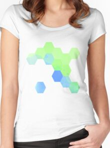 Watercolor Honey (Blue and Green) Women's Fitted Scoop T-Shirt