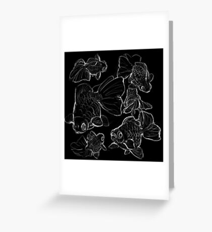 Sketchy Telescope Butterfly Goldfish Greeting Card