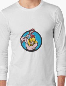 Gladiator Lacrosse Player Stick Circle Cartoon T-Shirt