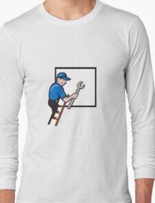 Handyman Climbing Ladder Window Cartoon T-Shirt