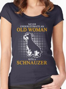 Never Underestimate an Old Woman with a Schnauzer Women's Fitted Scoop T-Shirt