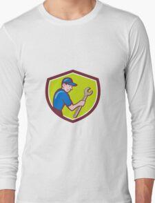 Handyman Holding Spanner Crest Cartoon T-Shirt