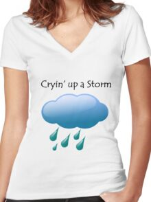 Cryin' up a Storm Cloud Women's Fitted V-Neck T-Shirt