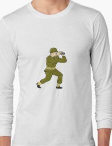 World War Two American Soldier Binoculars Cartoon T-Shirt