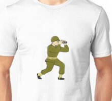 World War Two American Soldier Binoculars Cartoon Unisex T-Shirt