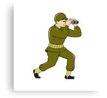 World War Two American Soldier Binoculars Cartoon Canvas Print