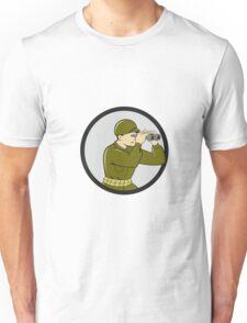 World War Two American Soldier Binoculars Circle Cartoon Unisex T-Shirt
