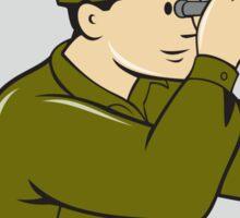 World War Two American Soldier Binoculars Circle Cartoon Sticker