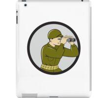 World War Two American Soldier Binoculars Circle Cartoon iPad Case/Skin