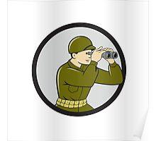 World War Two American Soldier Binoculars Circle Cartoon Poster