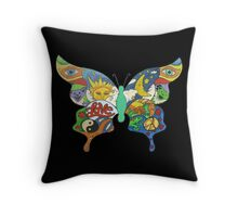 psychedelic butterfly Throw Pillow