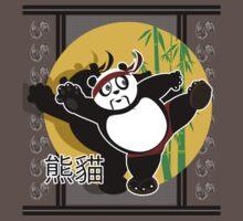 Martial Arts Panda - Black One Piece - Short Sleeve
