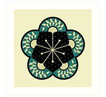 Geometric Heliconia Fan Pattern Art Print