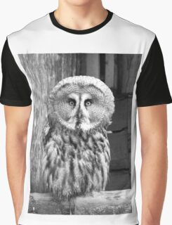 Monochrome Great Grey Owl Graphic T-Shirt