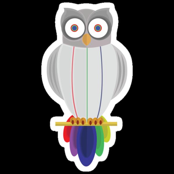 Rainbow Owl (black) by Adamzworld