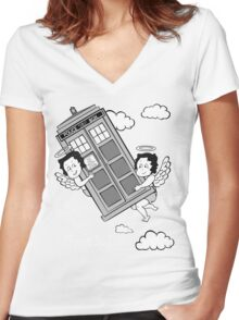 The Angels have the Phone Box - Version 3 BW (for dark tees) Women's Fitted V-Neck T-Shirt