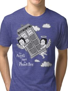 The Angels have the Phone Box - Version 3 BW (for dark tees) Tri-blend T-Shirt