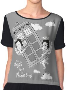The Angels have the Phone Box - Version 3 BW (for dark tees) Chiffon Top