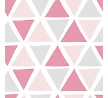 Pink Grey Triangles Photographic Print