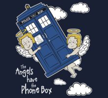 The Angels have the Phone Box - Version 4 (for dark tees / white outlines)  by lemontee