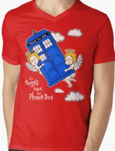 The Angels have the Phone Box - Version 4 (for dark tees / white outlines)  Mens V-Neck T-Shirt