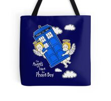The Angels have the Phone Box - Version 4 (for dark tees / white outlines)  Tote Bag