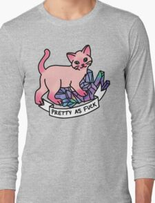 Crystal cat meme pretty flawless feminist girly hipster cat Long Sleeve T-Shirt