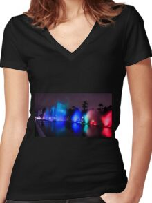 Colourful illuminated fountain, Magic Water Tour  Women's Fitted V-Neck T-Shirt