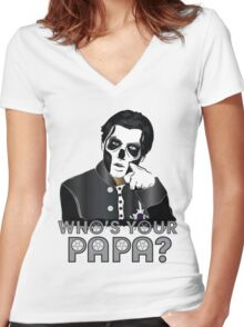 WHO'S YOUR PAPA? - papa 3 - design 4 Women's Fitted V-Neck T-Shirt