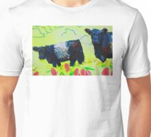 Painting of Two Belted Galloway Cows on Dartmoor Unisex T-Shirt