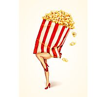Let's All Go to the Lobby - Popcorn Girl Photographic Print