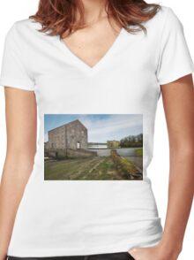 Carew Castle Tidal Mill Women's Fitted V-Neck T-Shirt