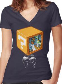 mushroom block Women's Fitted V-Neck T-Shirt