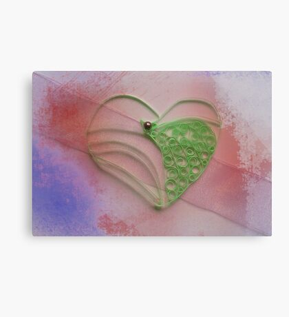 Green quilled heart Canvas Print